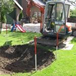 grondwerk met minigraver.