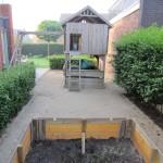 Ander zichtspunt grondwerk voorbereiding voor kunstgras en trampoline